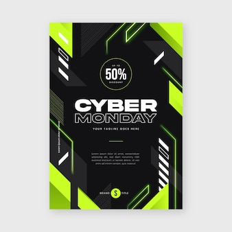 Flat futuristic cyber monday vertical poster template