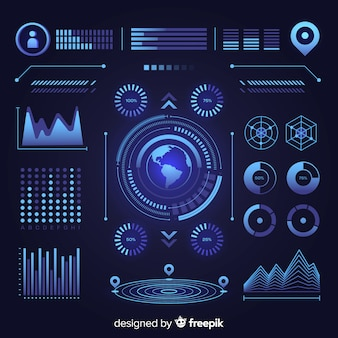 Flat futuristic infographic element collection