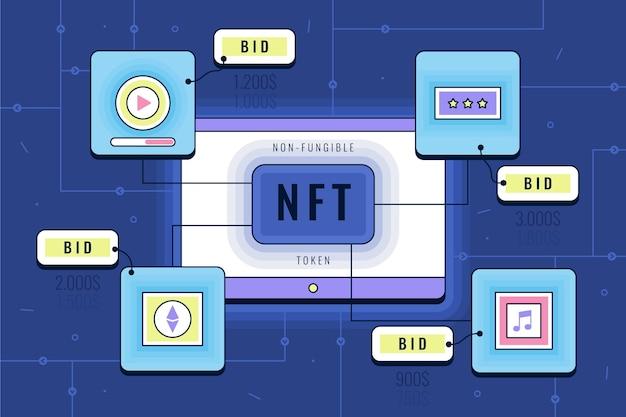 Плоская футуристическая концепция nft