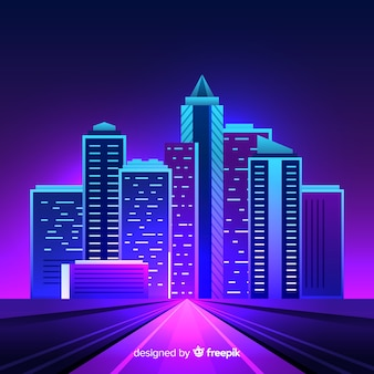 Flat futuristic night city background