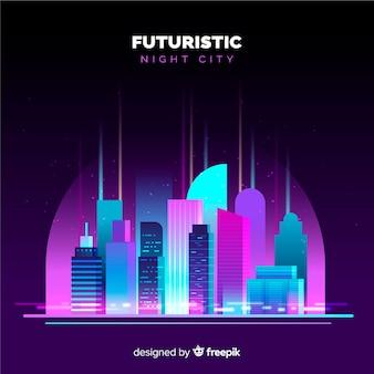 Flat futuristic night city background