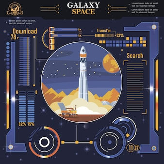 Flat futuristic space interface template with indicators and options of rocket launch