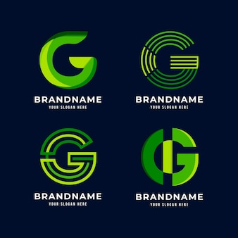 Flat g letter logo collection