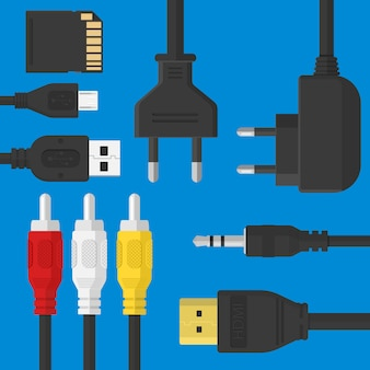 Flat gadgets set with plugs and usb