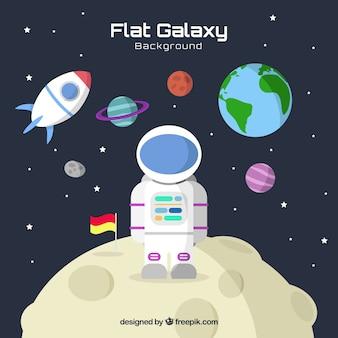 Фон с плоской галактикой с астронавтом