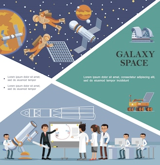 Flat galaxy template with scientists in observatory moon rover planetarium astronauts fix satellite in outer space