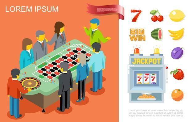 Concetto variopinto di gioco piatto con persone che giocano alla roulette nel numero sette del casinò e simboli di frutta per slot machine