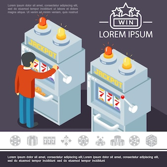 Плоские элементы азартных игр красочный шаблон с человеком, играющим в игровой автомат и значки казино
