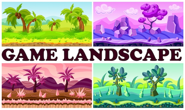 Flat game nature design background set with tropical fantasy jungle landscapes palm trees bushes stones river plants mountains clouds