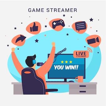 Elementi di concetto di streamer di gioco piatto