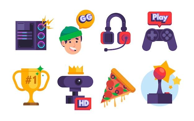 Raccolta di elementi di streamer di gioco piatto