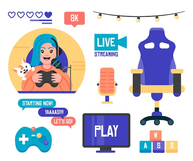 Flat game streamer elements collection