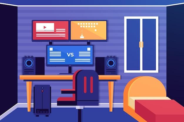 Плоская иллюстрация комнаты игрока