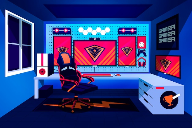 Flat gamer room illustration