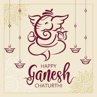 Flat ganesh chaturthi concept