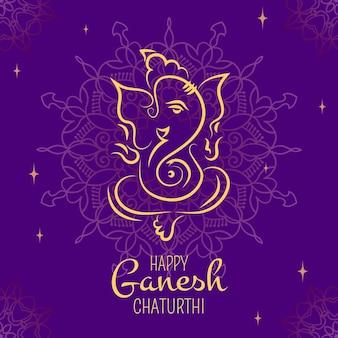 Flat ganesh chaturthi illustration concept