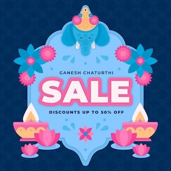 Flat ganesh chaturthi sales concept