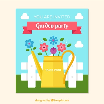 Flat garden party invitation template