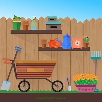 Attrezzi da giardino piane con un carrello