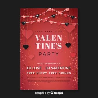 Flat garland valentine party poster
