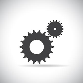 플랫 기어 아이콘입니다. 협력 및 팀워크 개념입니다. 벡터 일러스트레이션