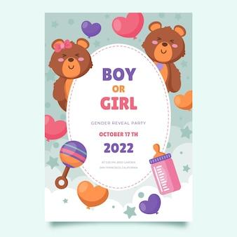 Flat gender reveal invitation