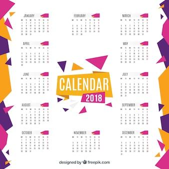 Flat geometric 2018 calendar