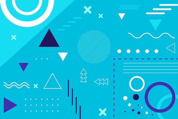Flat geometric background with blue elements