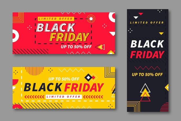 Set di banner venerdì nero geometrico piatto
