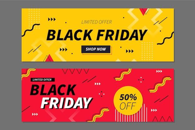 Set di banner orizzontali geometrici piatti venerdì nero