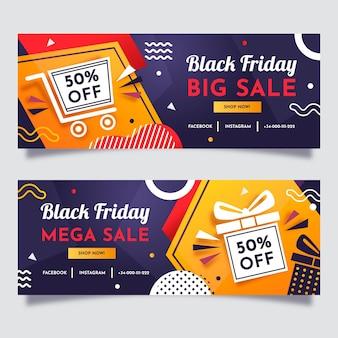 Flat geometric black friday horizontal banners set