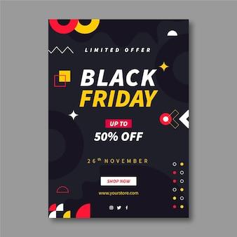 Modello di poster verticale venerdì nero geometrico piatto