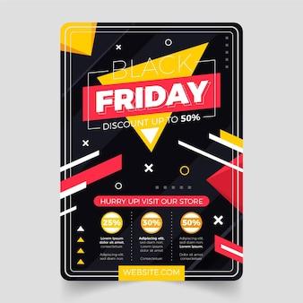 Flat geometric black friday vertical poster template