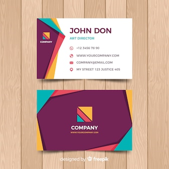 Flat geometric business card template