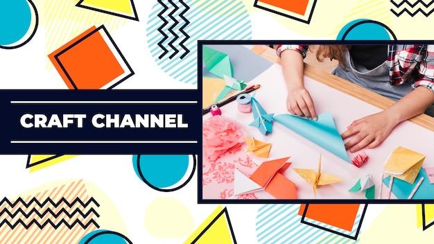 Modello di miniatura di youtube piatto geometrico artigianale Vettore gratuito