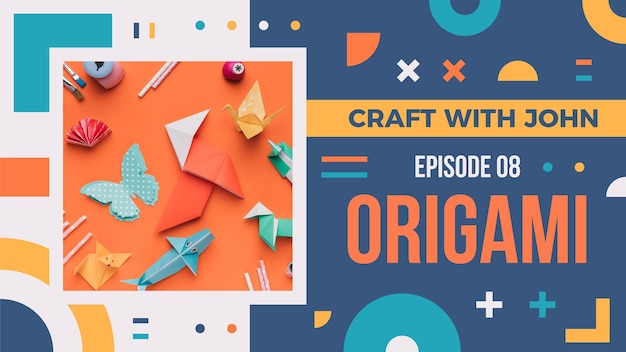 Flat geometric craft youtube thumbnail
