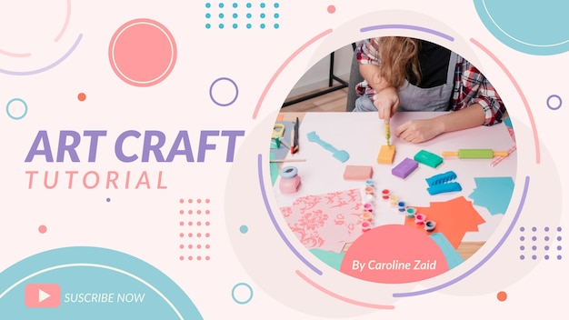 Flat geometric craft youtube thumbnail