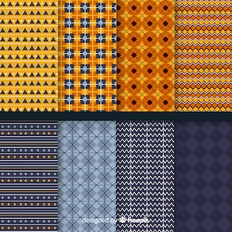 Flat geometric halloween pattern collection