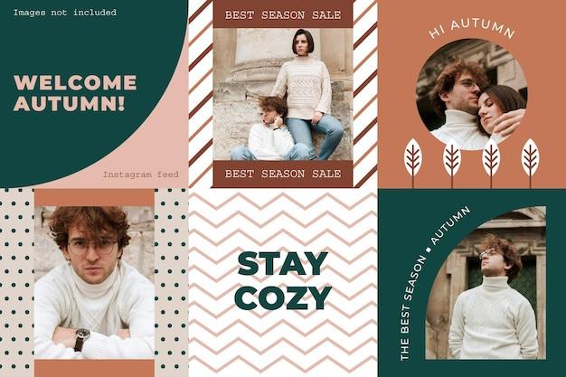 Design di feed instagram geometrico piatto per le vendite autunnali