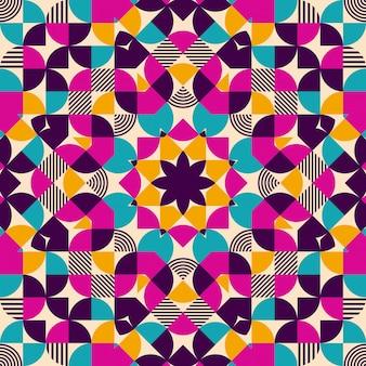 Flat geometric kaleidoscope seamless pattern