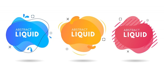 Flat geometric liquid form with various colors.
