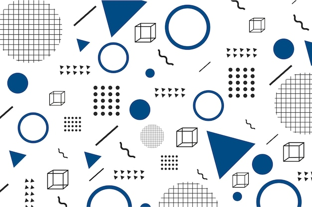 Flat geometric models on classic blue background