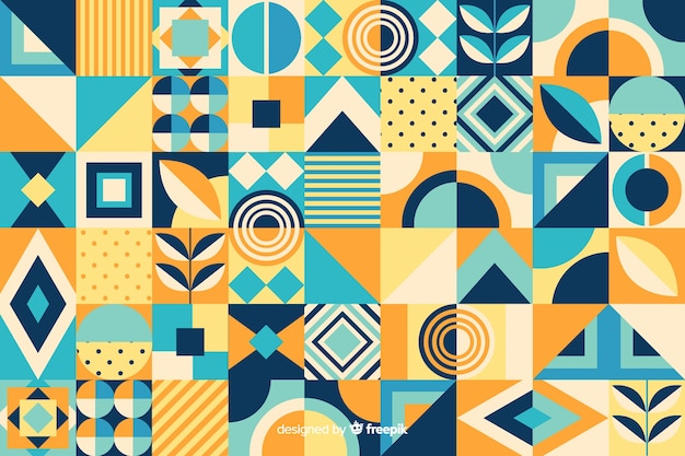 Flat geometric mosaic tiles background