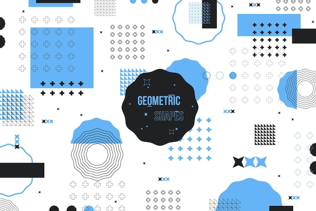 Flat geometric shapes background and blue memphis effect