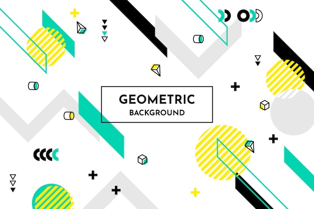 Flat geometric shapes background in memphis style