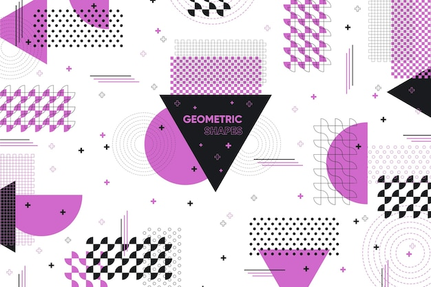 Flat geometric shapes background and violet memphis effect