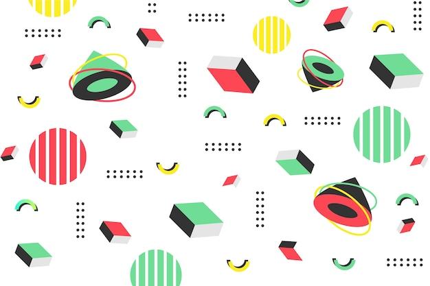 Flat geometric shapes background