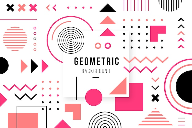 Flat geometric shapes background