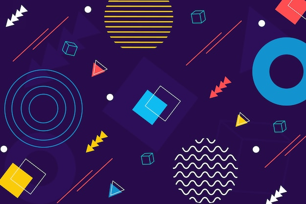 Flat geometric shapes screensaver