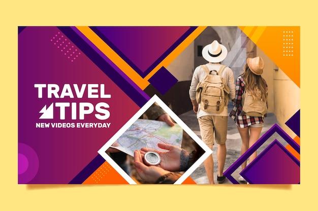 Miniatura di youtube di viaggio geometrica piatta
